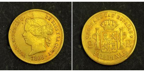 2 Peso Kingdom of Spain (1814 - 1873) / 菲律宾 金 Isabella II of Spain (1830- 1904)