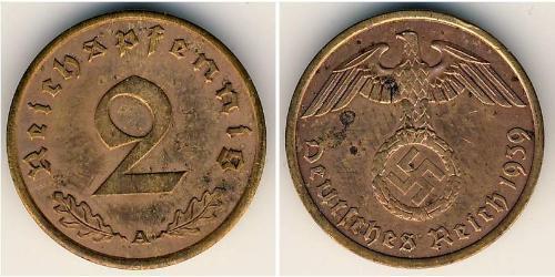 2 Pfennig Alemania nazi (1933-1945) Bronce