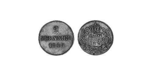 2 Pfennig Kingdom of Bavaria (1806 - 1918) Copper Ludwig I of Bavaria (1786 – 1868)