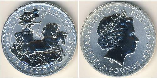 2 Pound Regno Unito (1922-) Argento Elisabetta II (1926-)