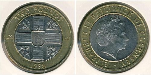 2 Pound Guernsey Bimetal 
