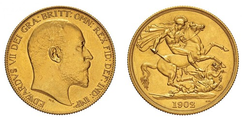 2 Pound Reino Unido de Gran Bretaña e Irlanda (1801-1922) Oro Eduardo VII (1841-1910)
