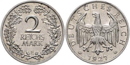 2 Reichsmark Repubblica di Weimar (1918-1933) Argento