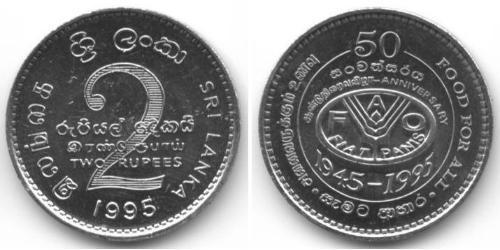 2 Rupee Sri Lanka/Ceylon Copper/Nickel