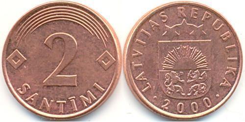 2 Santims Латвія (1991 - ) Мідь/Залізо