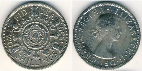 2 Shilling Reino Unido (1922-) Níquel/Cobre Isabel II (1926-)