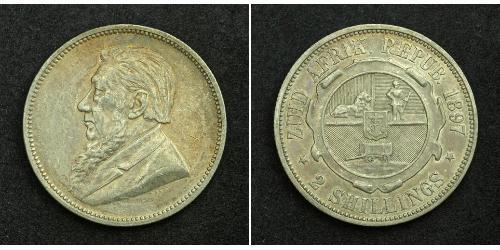 2 Shilling Sudáfrica Plata Paul Kruger (1825 - 1904)