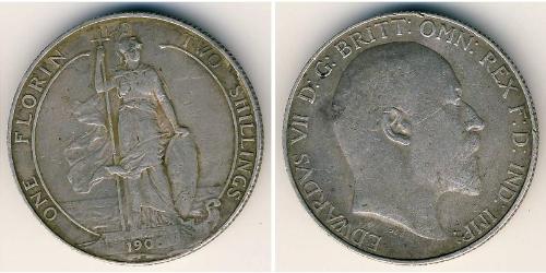 2 Shilling United Kingdom of Great Britain and Ireland (1801-1922) Silver Edward VII (1841-1910)