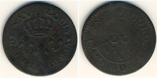 2 Sou Guayana Francesa Cobre Luis XVI de Francia (1754 - 1793)