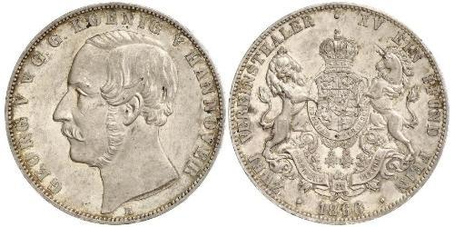 2 Thaler Regno di Hannover (1814 - 1866) Argento Giorgio V di Hannover (1819 - 1878)