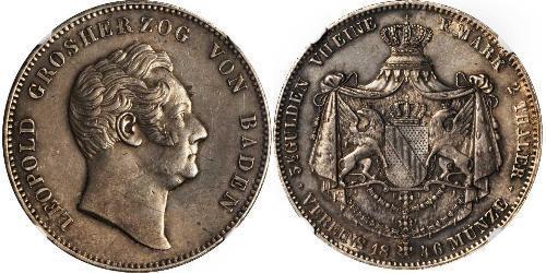 2 Thaler Gran Ducado de Baden (1806-1918) Plata Leopoldo I de Baden(1790 – 1852)