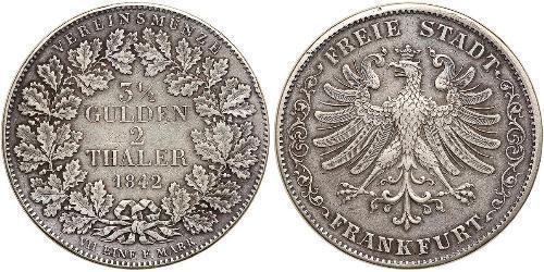 2 Thaler Freie Stadt Frankfurt Silber
