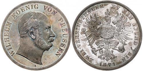 2 Thaler Königreich Preußen (1701-1918) Silber Wilhelm I, German Emperor (1797-1888)
