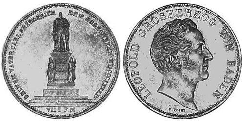 2 Thaler Grand Duchy of Baden (1806-1918) Silver Leopold, Grand Duke of Baden (1790 – 1852)