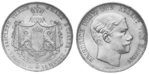 2 Thaler Grand Duchy of Baden (1806-1918) Silver Frederick I, Grand Duke of Baden (1826 - 1907)