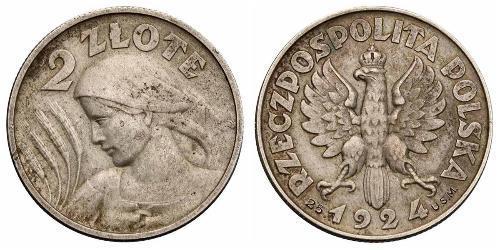 2 Zloty Zweite Polnische Republik (1918 - 1939) Silber