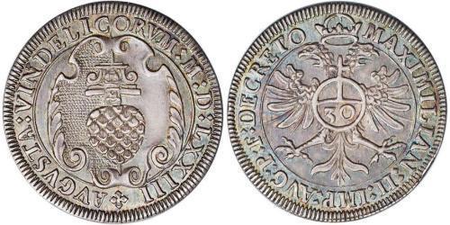 30 Kreuzer Imperial City of Augsburg (1276 - 1803) Silver Maximilian II, Holy Roman Emperor (1527- 1576)
