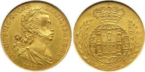 3200 Рейс Королевство Португалия (1139-1910) Золото Жуан VI король Португалии (1767-1826)