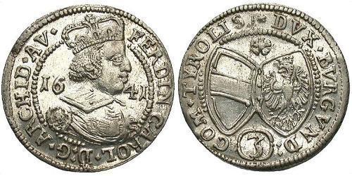3 Крейцер Австрія Серебро Фердинанд Карл Австрийский