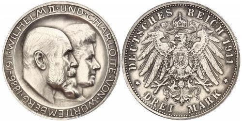 3 Марка Королевство Вюртемберг (1806-1918) Серебро Wilhelm II, German Emperor (1859-1941)