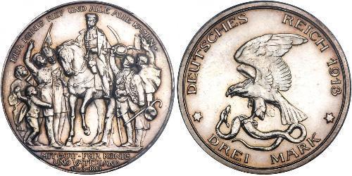 3 Марка Пруссия (королевство) (1701-1918) Серебро