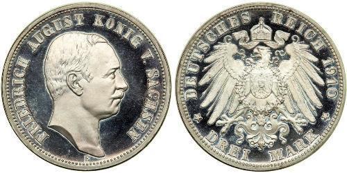 3 Марка Саксония (королевство) (1806 - 1918) Серебро Фридрих Август III (король Саксонии) (1865-1932)