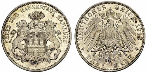 3 Марка Федеральные земли Германии / Гамбург Серебро