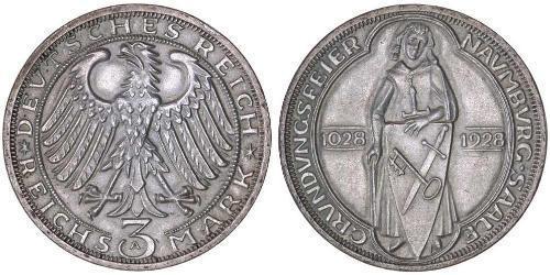3 Марка / 3 Reichsmark Веймарська республіка (1918-1933) Срібло