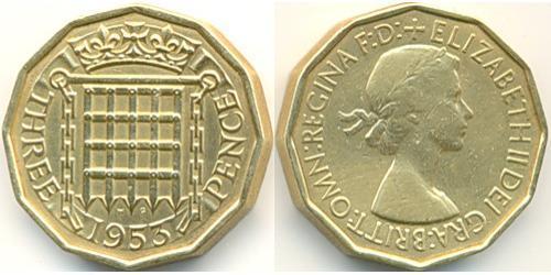 3 Пенни Великобритания (1922-)  Елизавета II (1926-)