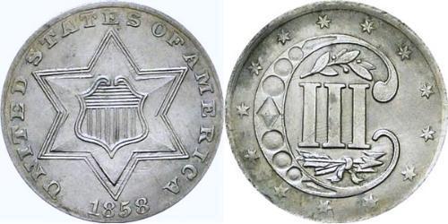 3 Цент США (1776 - ) Мідь/Срібло