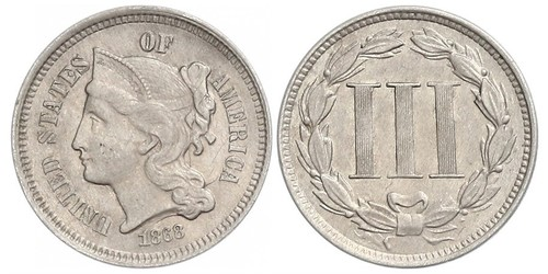 3 Цент США (1776 - ) Серебро