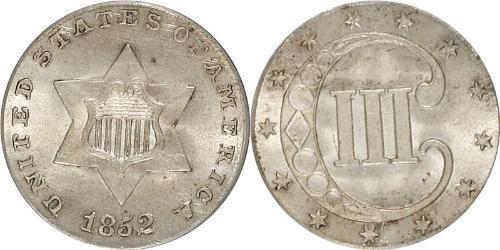 3 Цент США (1776 - ) Серебро/Медь