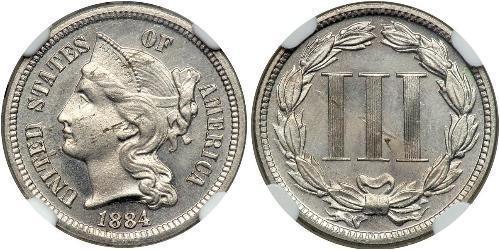 3 Cent Estados Unidos de América (1776 - ) Plata