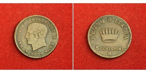 3 Centesimo Reino de Italia (1805–1814) Cobre Napoleón Bonaparte(1769 - 1821)