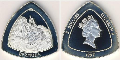 3 Dólar Bermudas Plata Isabel II (1926-)