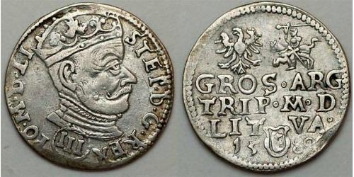 3 Grosh Polish-Lithuanian Commonwealth (1569-1795) Silver Stefan Batory (1533 - 1586)