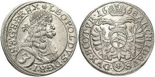 3 Kreuzer Austria  Silver Leopold I, Holy Roman Emperor (1640-1705)