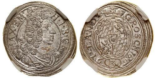 3 Kreuzer Electorate of Bavaria (1623 - 1806) Silver Maximilian II Emanuel, Elector of Bavaria