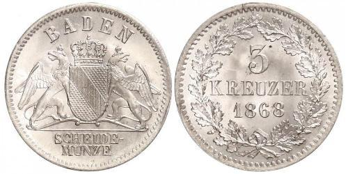 3 Kreuzer Grand Duchy of Baden (1806-1918) Silver Frederick I, Grand Duke of Baden (1826 - 1907)