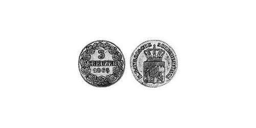 3 Kreuzer Kingdom of Bavaria (1806 - 1918) Silver Ludwig II of Bavaria (1845 – 1886)