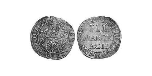 3 Marck Free Imperial City of Aachen (1306 - 1801) Silver Ferdinand III, Holy Roman Emperor (1608-1657)