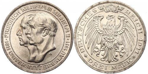 3 Mark 普魯士王國 (1701 - 1918) 銀 腓特烈·威廉三世 (1770 -1840)