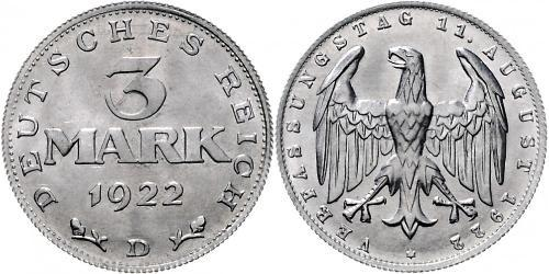3 Mark Weimar Republic (1918-1933) Aluminium