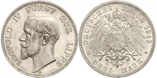 3 Mark Principauté de Lippe (1123 - 1918) Argent Léopold IV de Lippe