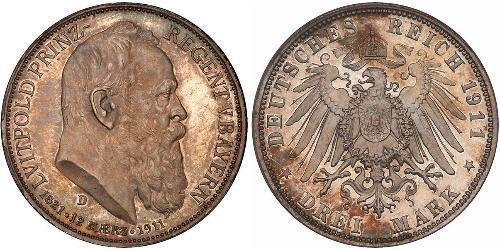 3 Mark Royaume de Bavière (1806 - 1918) Argent Othon Ier de Bavière(1848 – 1916)