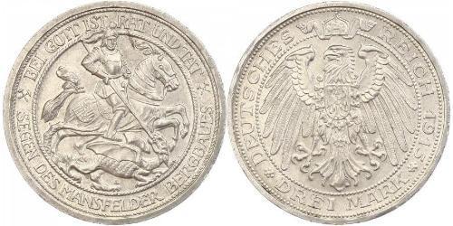 3 Mark Royaume de Prusse (1701-1918) Argent Wilhelm II, German Emperor (1859-1941)