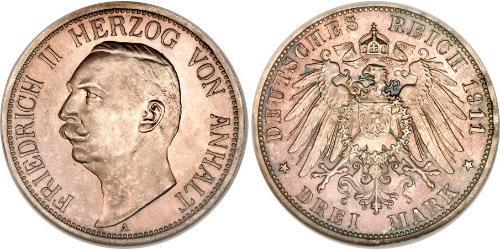 3 Mark Anhalt-Dessau (1603 -1863) Argento Federico II di Anhalt(1856 – 1918)