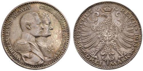 3 Mark Sassonia-Weimar-Eisenach (1809 - 1918) Argento Guglielmo Ernesto di Sassonia-Weimar-Eisenach