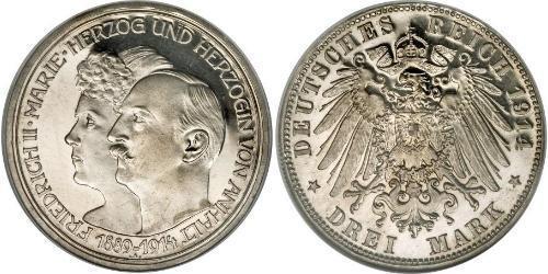 3 Mark Anhalt-Dessau (1603 -1863) Plata Federico II de Anhalt(1856 – 1918)
