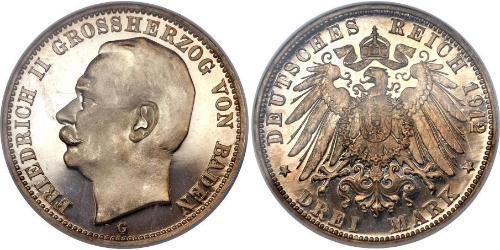 3 Mark Grand Duchy of Baden (1806-1918) Silber Friedrich II. (Baden, Großherzog) (1857 - 1928)